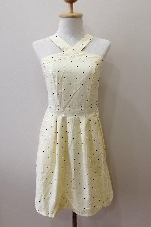 Cross Neck Polka dot Dress In Pastel Yellow