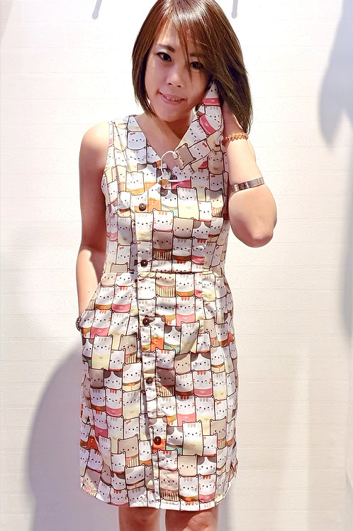 #059D Cat Printed Shift Dress In Yellow