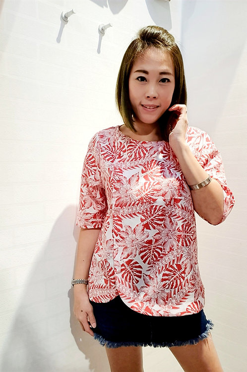 Floral Round Neckline Shift Blouse In Red
