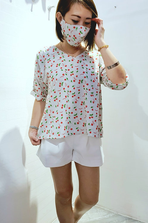 #NK0108  CHERRY PRINTED RIBBON TOP IN WHITE
