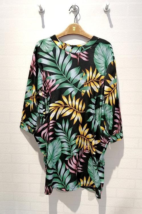 Plus Size Floral Long Sleeve Jersey Dress In Black