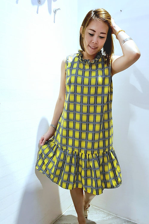 #NK0113S CHECKERED DRESS IN YELLOW