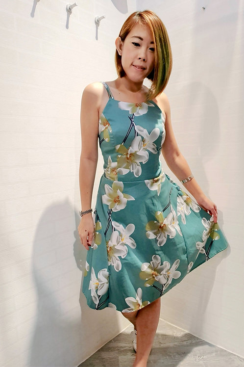 Floral Spag A-line Dress In Green