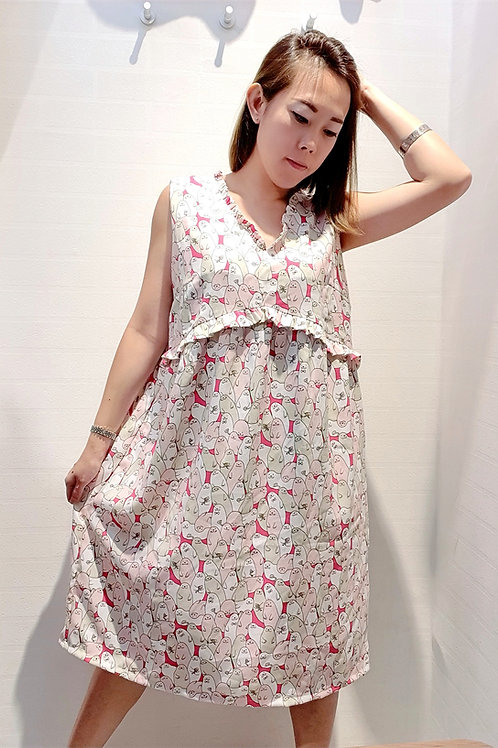 Plus Size Frills Babydoll Sea lion Printed Dress In Pink