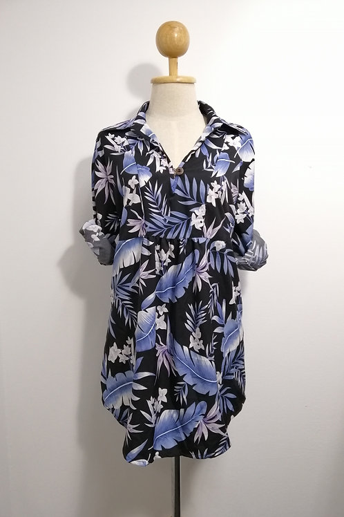 Oversize Floral Tunic Top In Black