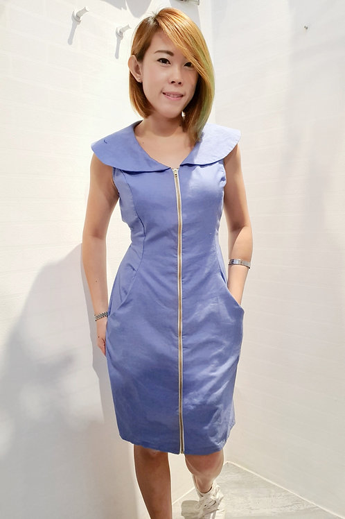 Peter Pan Collar Zipper Dress In Light Blue