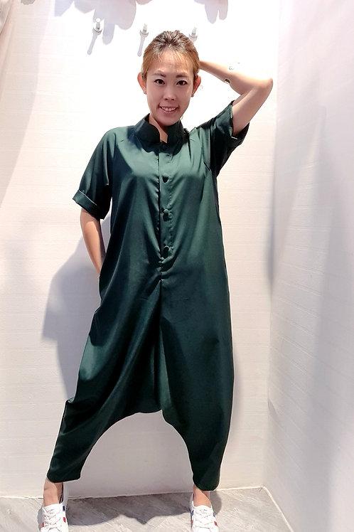 Mandarin Collar Baggy Jumpsuits In Green