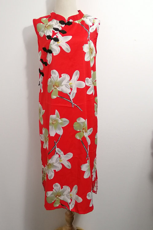 Plus Size Midi Floral Side Slit Cheongsam in Red