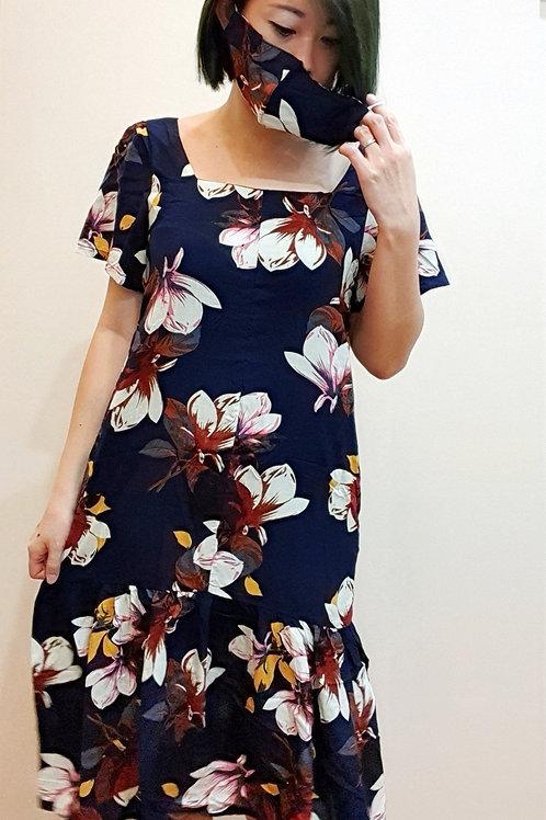 #065D Square Neck Floral Dress In Blue