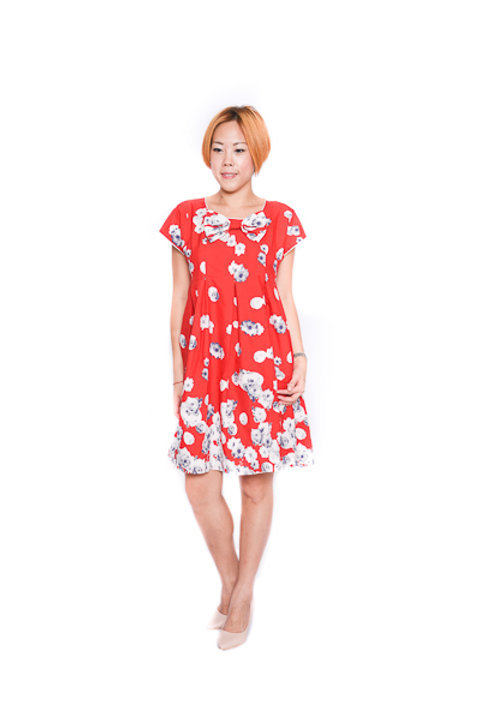 Floral Babydoll Dress In Red