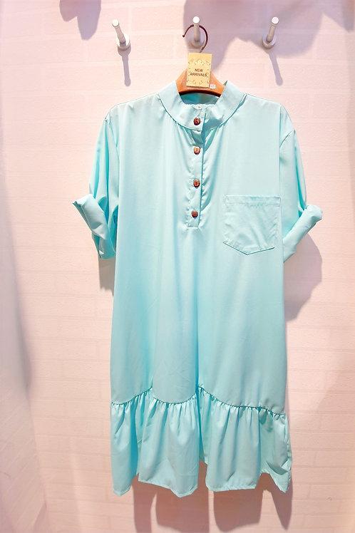 Plus Size Mandarin Collar Drop Waist Sleeve Dress In Turquoise