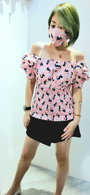 #BM06 2 WAY WHALE PRINTED  BLOUSE  IN PINK