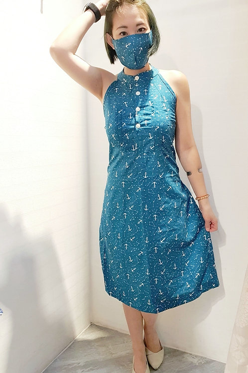 #BM021D DOUBLE T BACK ANCHOR PRINTED DRESS IN TEAL