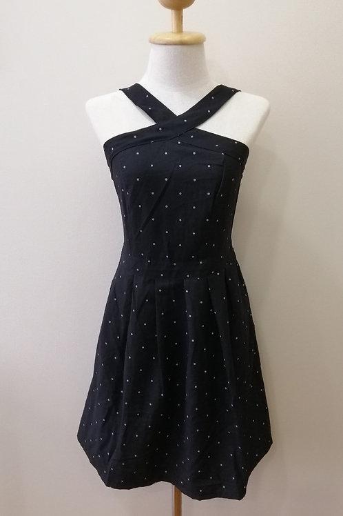 Cross Neck Polka dot Dress In Black