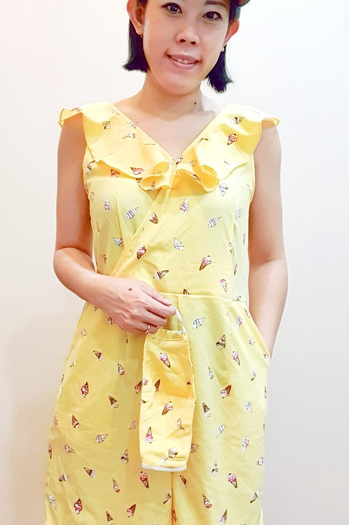 #062AB Ice Cream Jumpsuit In Yellow