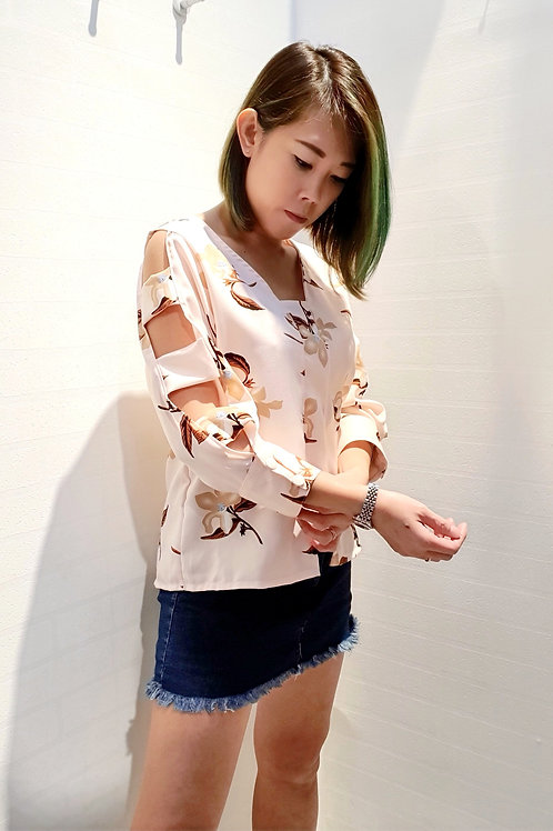 Floral Keyhole Sleeves Blouse In Peach
