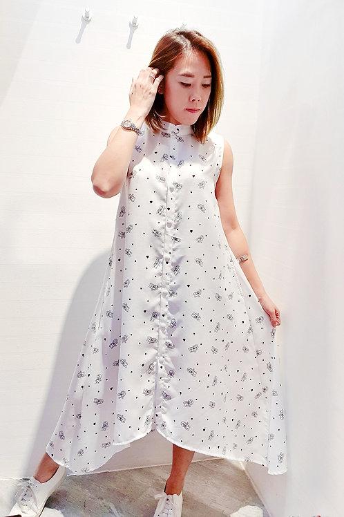 Mandarin Front Short Back Long Cat Printed Dress In White