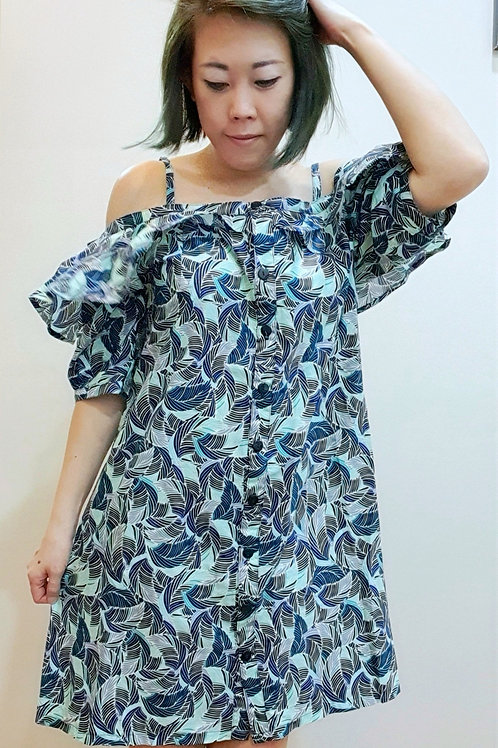 #BM13D Off Shoulder Dress In Turquoise