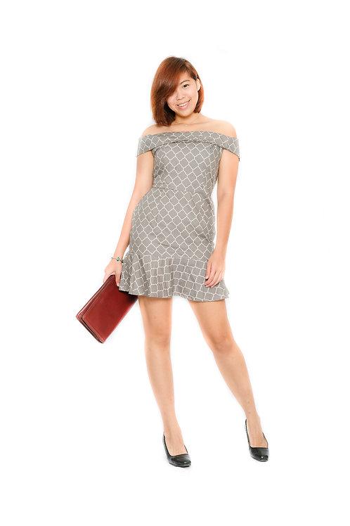 Pattern Off Shoulder Dress In Grey