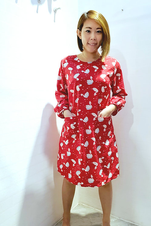 #NK0100 RIBBON BACK SWAN PRINTED DRESS IN RED