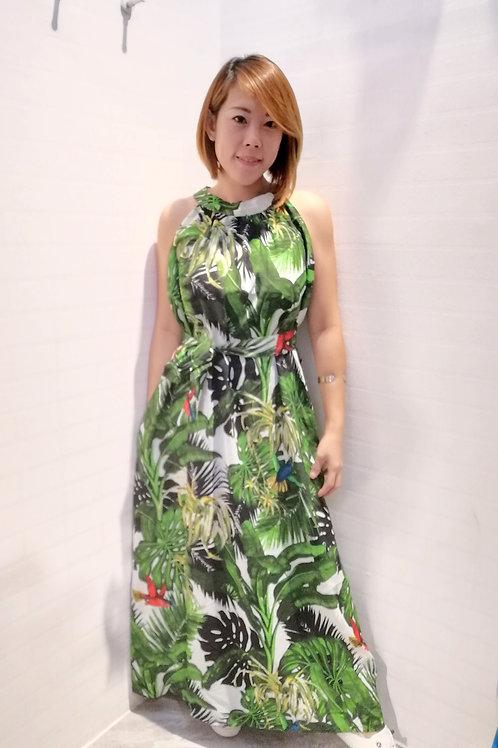 Tropical Maxi Halter Neck Dress In Black