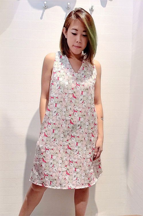 Cross back Sea Lion Printed Shift Dress In Pink
