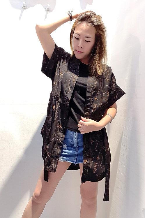 Short Summer Overlay Coat Style Top In Black
