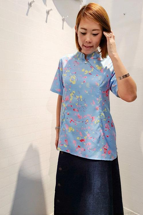 Modern Abstract Print Zip Cheongsam Top in Blue