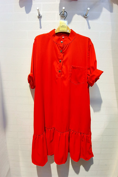 Plus Size Mandarin Collar Drop Waist Sleeve Dress In Red