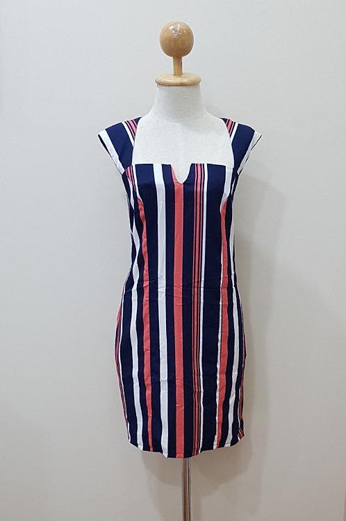 Stripe Pattern Shift Dress In Blue