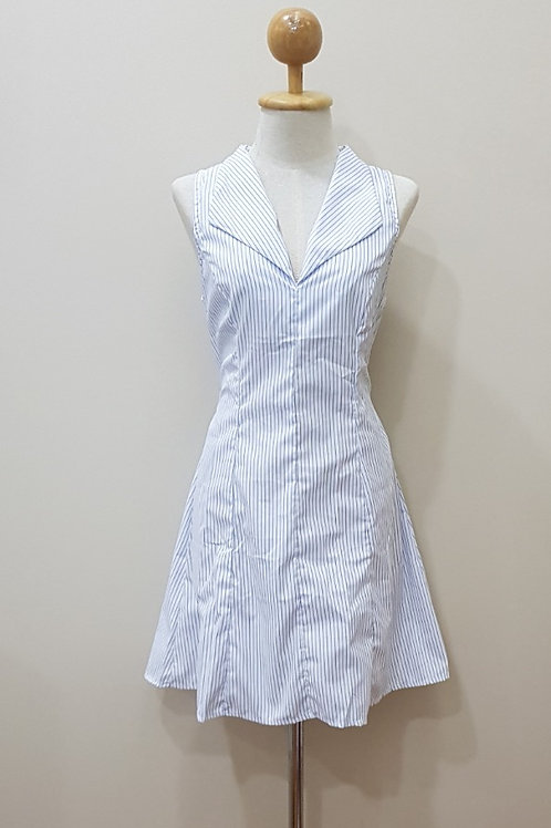 V-neck Fit and Flare Dress In Small Blue Stripes