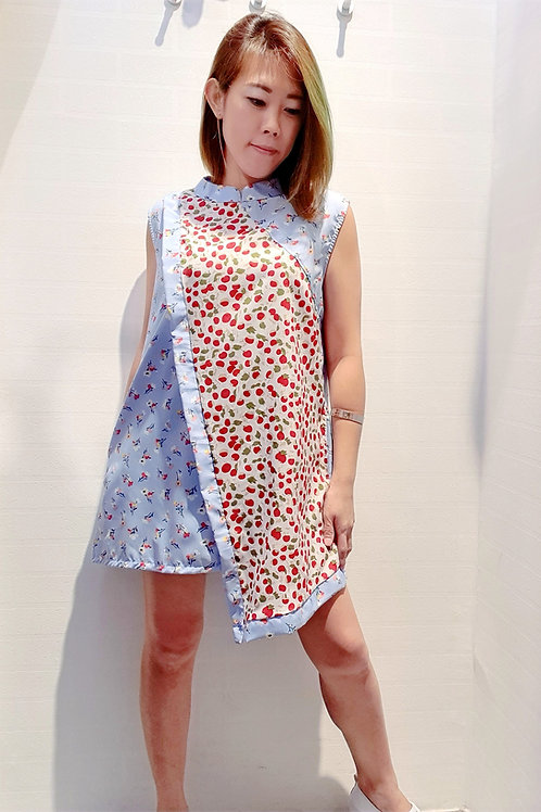 Plus Size Asymmetrical Two Tone Cheongsam Top In Floral Blue