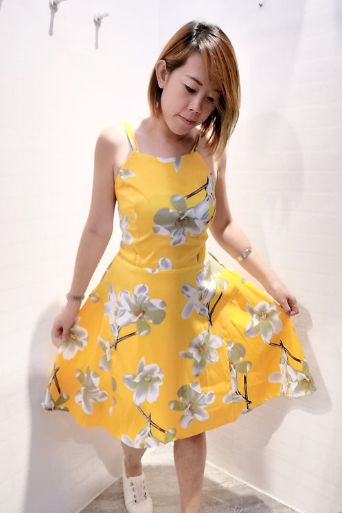 Floral Spag A-line Dress In Yellow