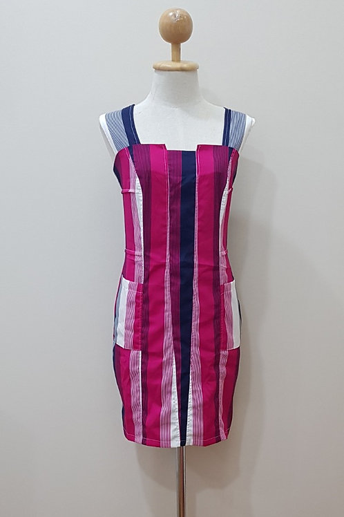 Stripes Pattern Sleeveless Shift Dress In Pink