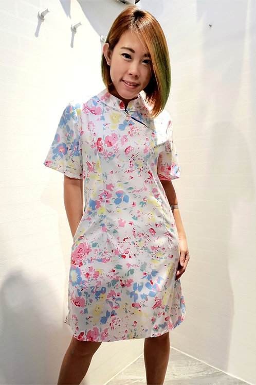 Modern Abstract Print Zip Cheongsam Dress In White