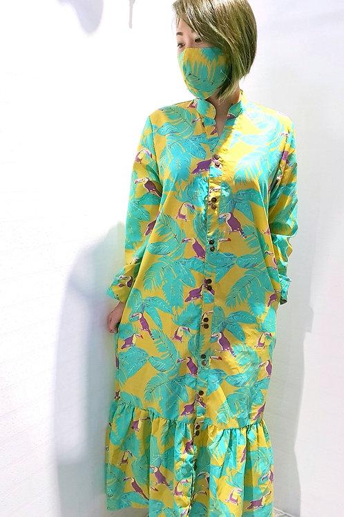 #NK076D MANDARIN V COLLAR MAXI DRESS IN YELLOW