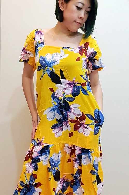 #065D Square Neck Floral Dress In Yellow
