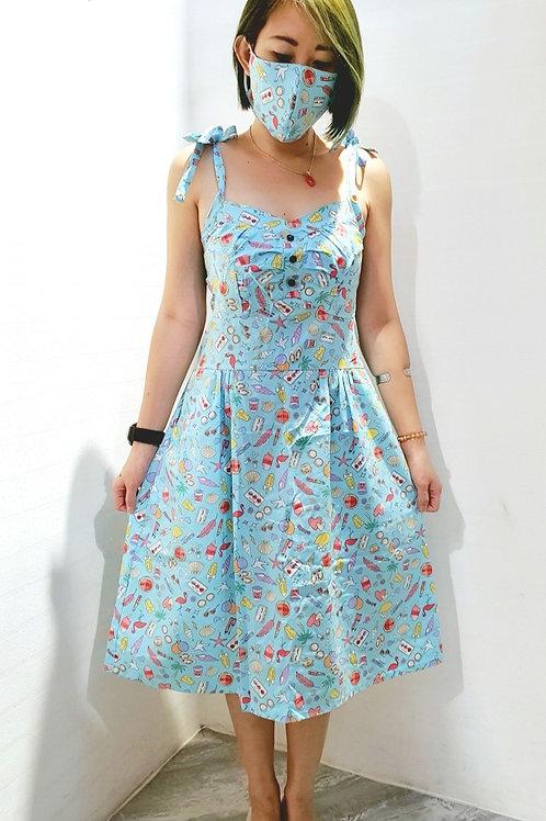 #BM015D FLORAL RUFFLES BABYDOLL  DRESS IN BLUE