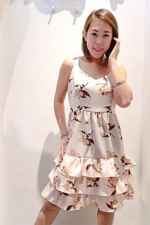 Floral Layered Ruffles Hem Dress In Peach