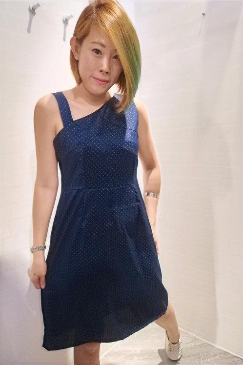 Polkadot Toga Dress In Blue