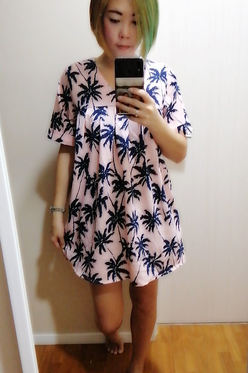 Pleated Printed Jersey Tunic in Pink
