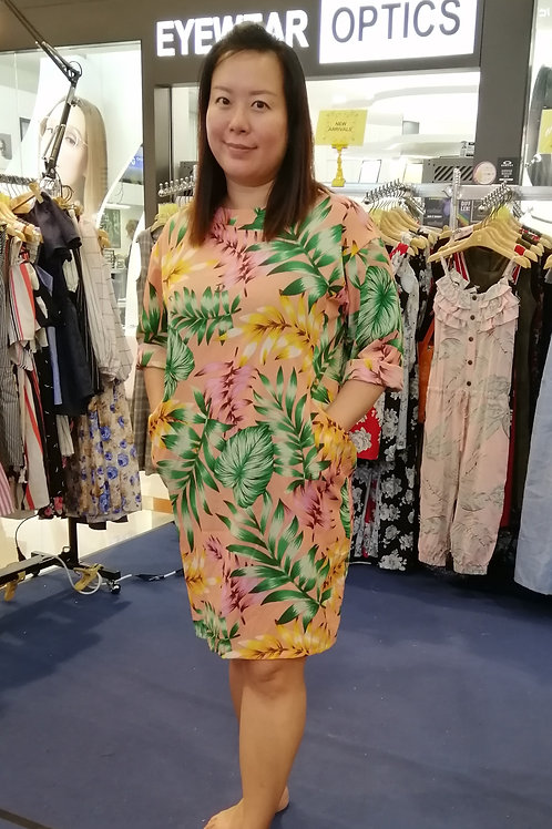 Plus Size Floral Long Sleeve Jersey Dress In Pink