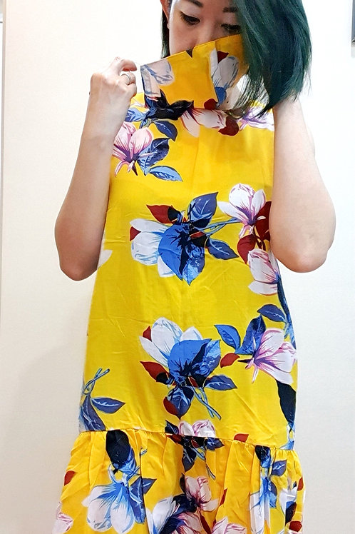 #071D Floral Ruffles Hem Shift Dress In Yellow