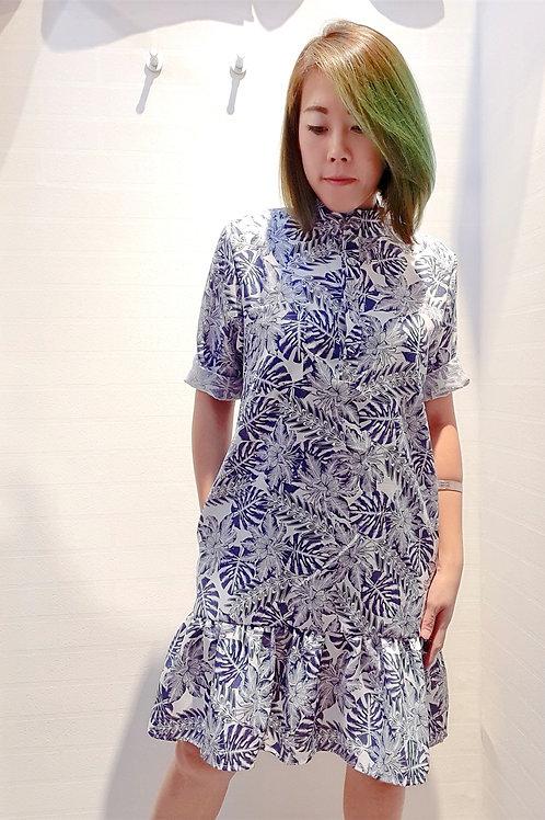 Floral Mandarin Collar Drop Waist Sleeve Dress In Blue