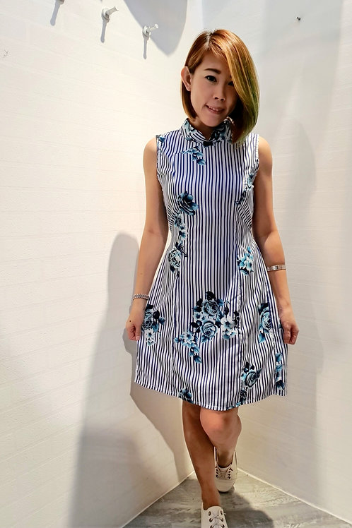 Rosy Cheongsam Dress In Blue