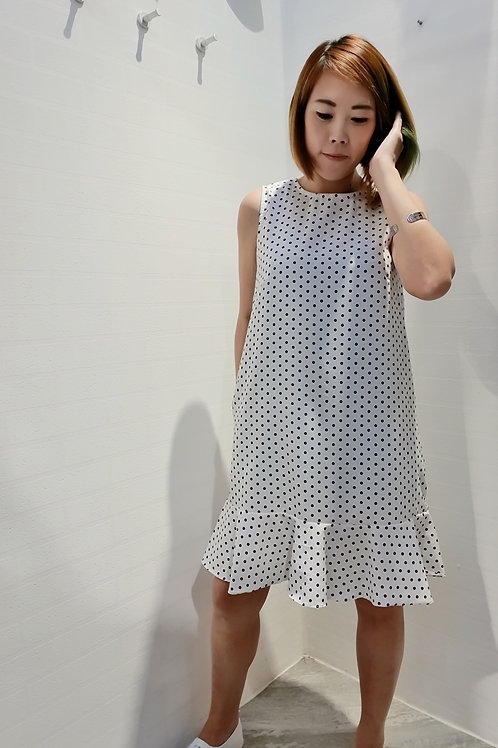 Polkadot Drop Waist Dress In White