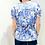 Thumbnail: #BM03 Floral Ribbon Back Blouse In Blue