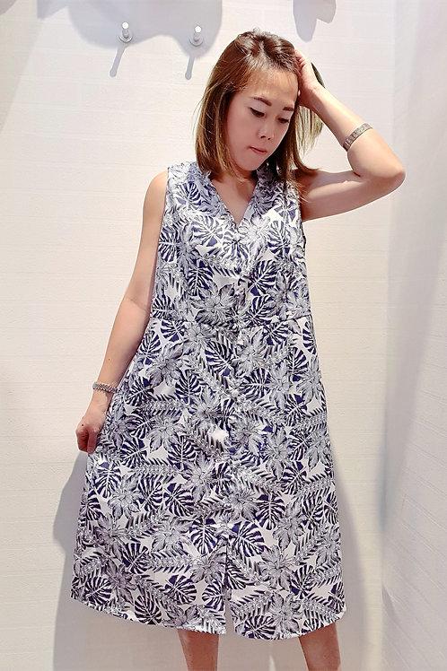 Plus Size Mandarin V Floral Midi Dress In Blue