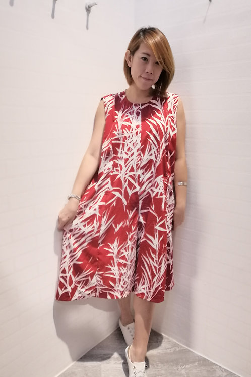 A-Line Floral Jumpsuits In Red