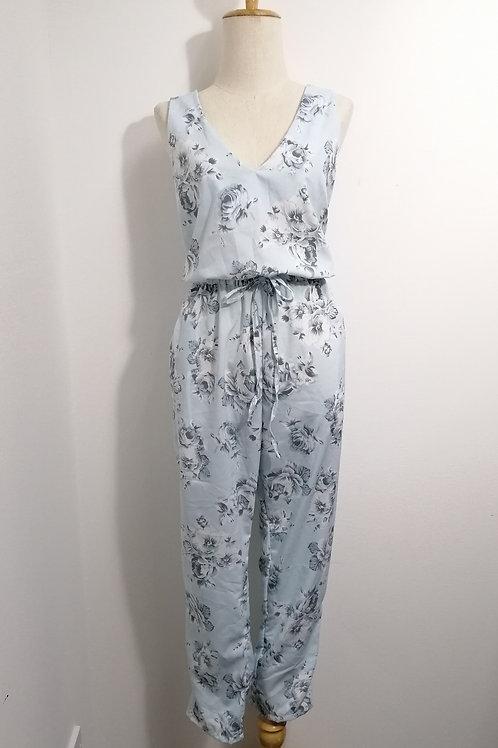 Floral V-neck Jumpsuits in Pastel Blue